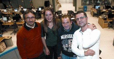 Michele Catanzaro, Angela Biesot, Óscar Sánchez i Antonio Baquero, ahir a la redacció d'EL PERIÓDICO. FRANCESC CASALS